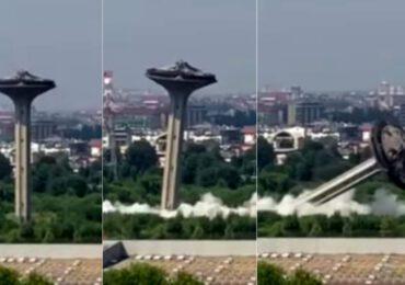 """Abbattuta la torre dell'<b>acqua</b> del quartiere Adriano: il """"fungo"""" è stato fatto brillare"""